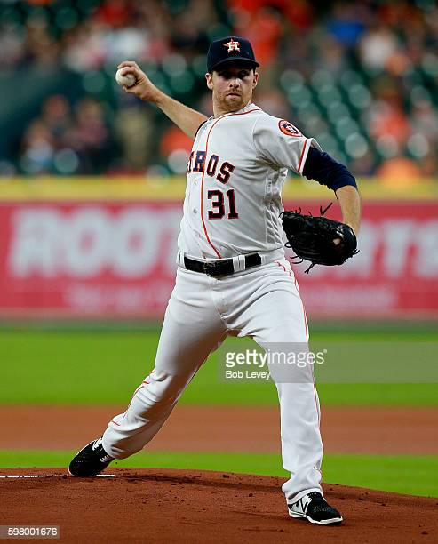 Collin McHugh of the Houston Astros pitches in the first inning against the Oakland Athletics at Minute Maid Park on August 30 2016 in Houston Texas