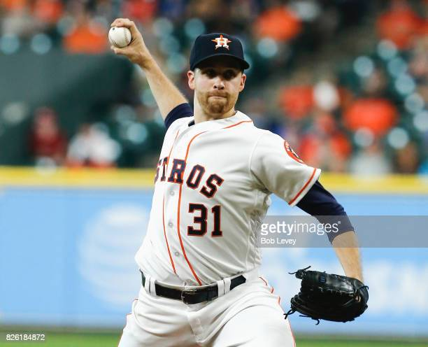Collin McHugh of the Houston Astros pitches in the first inning against the Tampa Bay Rays at Minute Maid Park on August 3 2017 in Houston Texas