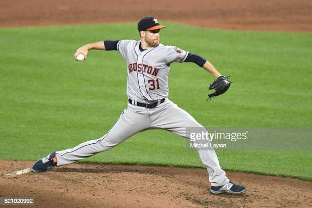 Collin McHugh of the Houston Astros pitches in the third inning during a baseball game against the Baltimore Orioles at Oriole Park at Camden Yards...