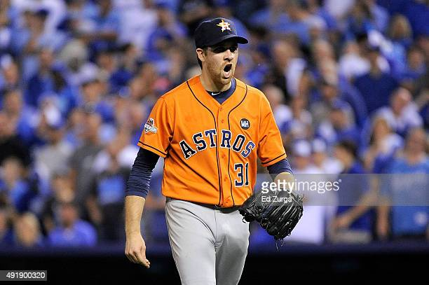 Collin McHugh of the Houston Astros reacts after Ben Zobrist of the Kansas City Royals grounds out to end the fifth inning during game one of the...