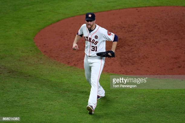 Collin McHugh of the Houston Astros reacts during the sixth inning against the Los Angeles Dodgers in game five of the 2017 World Series at Minute...