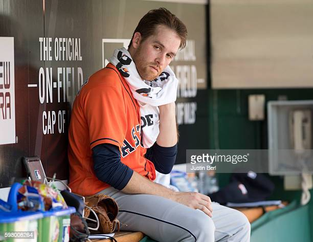 Collin McHugh of the Houston Astros sits in the dugout during the game against the Pittsburgh Pirates at PNC Park on August 24 2016 in Pittsburgh...