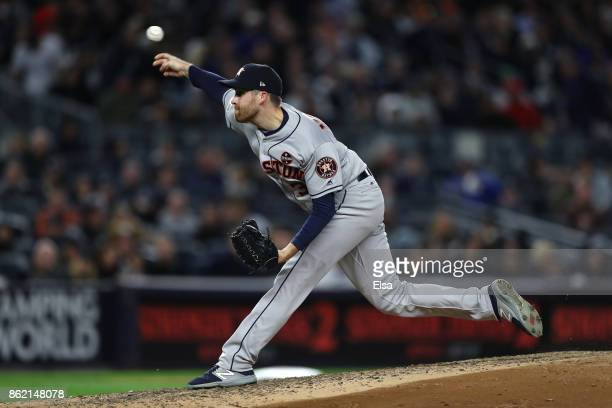 Collin McHugh of the Houston Astros throws a pitch against the New York Yankees during the fifth inning in Game Three of the American League...
