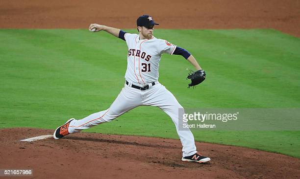 Collin McHugh of the Houston Astros throws a pitch during the fifth inning of their game against the Detroit Tigers at Minute Maid Park on April 16...
