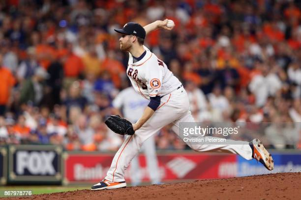 Collin McHugh of the Houston Astros throws a pitch during the fifth inning against the Los Angeles Dodgers in game five of the 2017 World Series at...