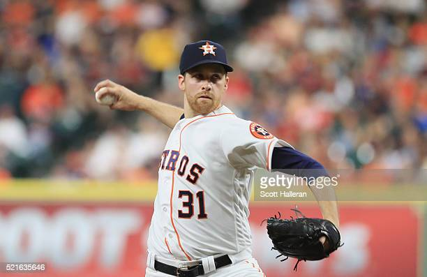 Collin McHugh of the Houston Astros throws a pitch during the third inning of their game against the Detroit Tigers at Minute Maid Park on April 16...