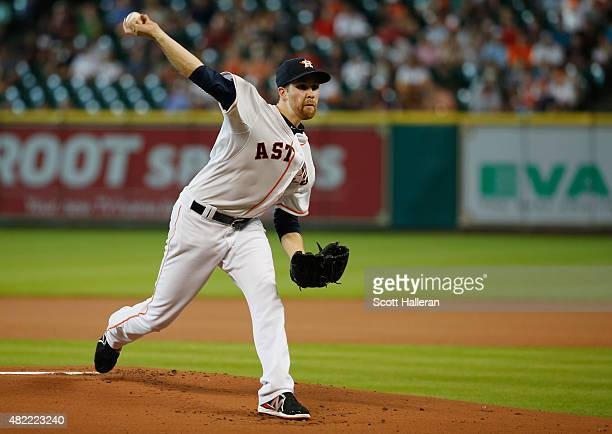 Collin McHugh of the Houston Astros throws a pitch in the first inning of their game against the Los Angeles Angels of Anaheim at Minute Maid Park on...