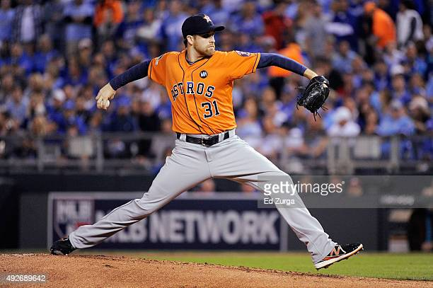 Collin McHugh of the Houston Astros throws a pitch in the first inning against the Kansas City Royals during game five of the American League Divison...