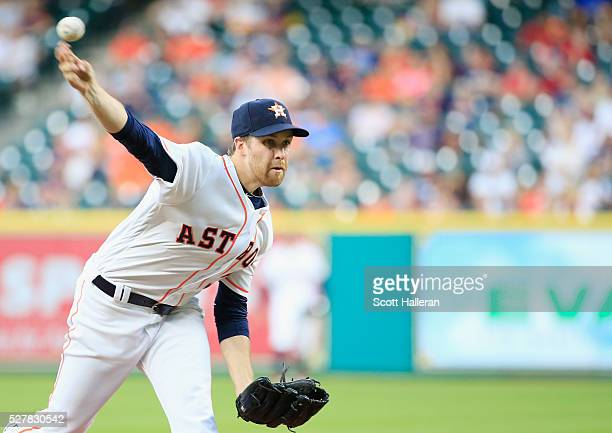 Collin McHugh of the Houston Astros throws a pitch in the second inning of their game against the Minnesota Twins at Minute Maid Park on May 3 2016...