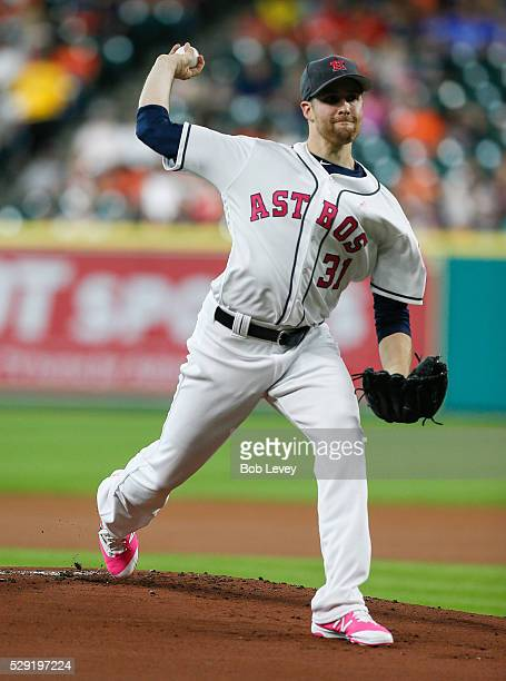 Collin McHugh of the Houston Astros throws in the first inning against the Seattle Mariners at Minute Maid Park on May 8 2016 in Houston Texas