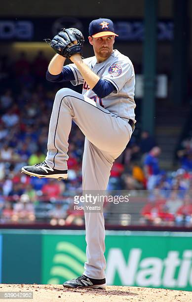 Collin McHugh of the Houston Astros throws in the first inning against the Texas Rangers at Globe Life Park in Arlington on June 9 2016 in Arlington...
