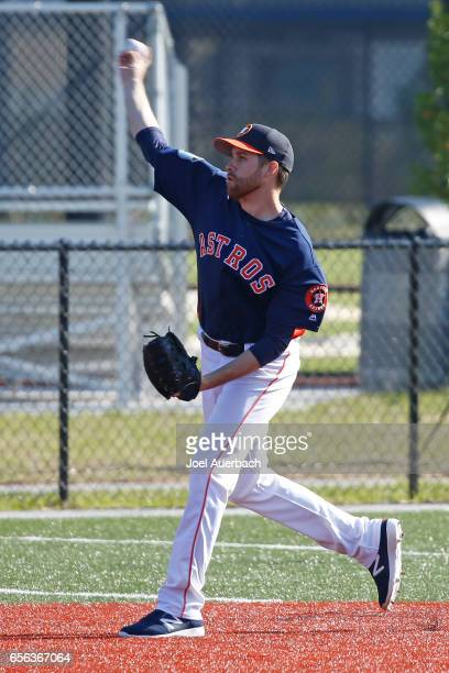 Collin McHugh of the Houston Astros throws the ball prior to the spring training game against the New York Yankees at The Ballpark of the Palm...