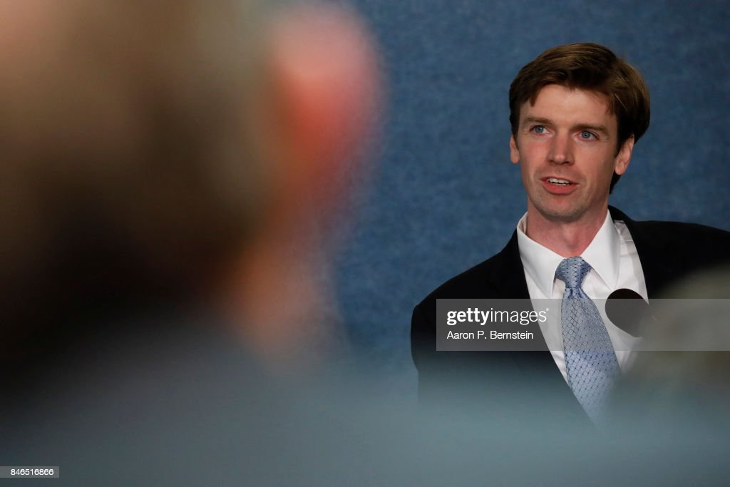 Collin O'Mara, president of the National Wildlife Federation, speaks at a news conference held by Save the US EPA September 13, 2017 in Washington, DC. Activists are rallying against cutbacks at the EPA instituted by the Trump administration.