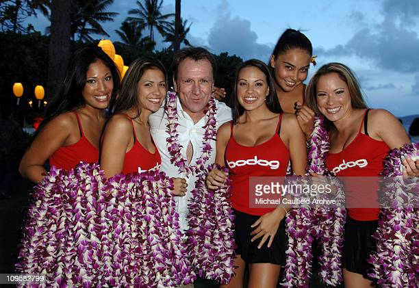 Collin Quinn and bodognet girls during bodognet Salute to the Troops Charity Event Benefitting Military Charity Fisher House Foundation VIP Luau and...