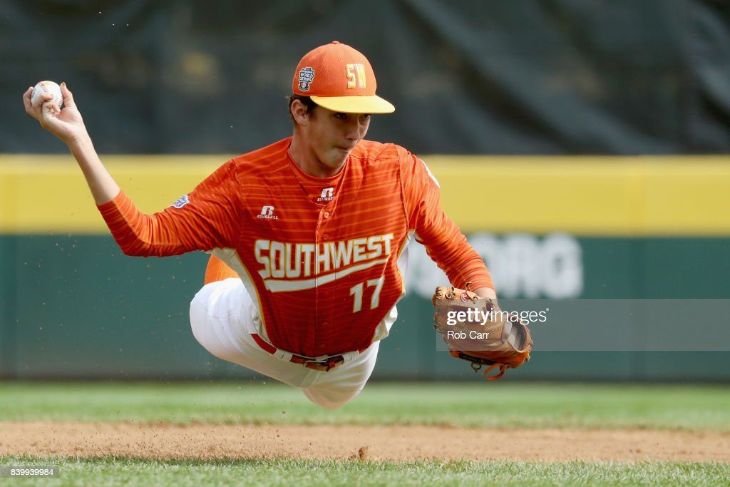 Collin Ross #17 of the Southwest Team from Texas fields a ball hit by Japan in the first inning during the Champioinship Game of the Little League World Series at Lamade Stadium on August 27, 2017 in South Williamsport, Pennsylvania.
