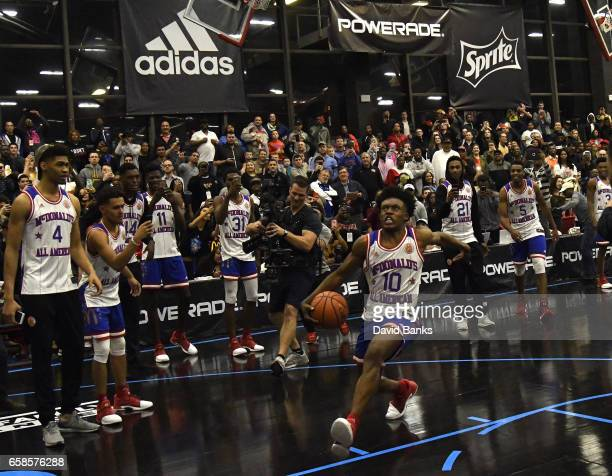 Collin Sexton goes for a dunk during the 2017 McDonald's All American games POWERADE Jam Fest on March 27 2017 at the Illinois Institute of...