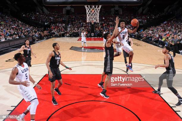 Collin Sexton of the USA Junior Select Team shoots against the World Select Team during the game on April 7 2017 at the MODA Center Arena in Portland...
