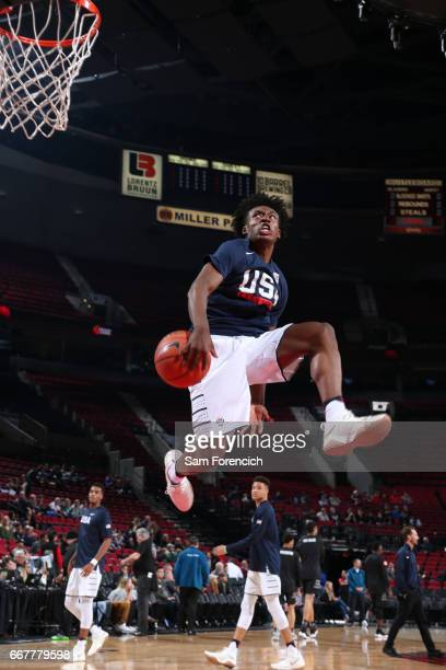 Collin Sexton of the USA Junior Select Team warms up against the World Select Team during the game on April 7 2017 at the MODA Center Arena in...