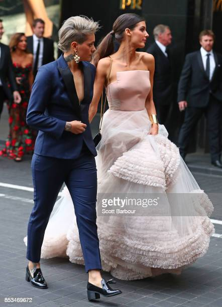 Collingwood AFLW player Moana Hope arrives with Isabella Carlstrom ahead of the 2017 Brownlow Medal at Crown Entertainment Complex on September 25...