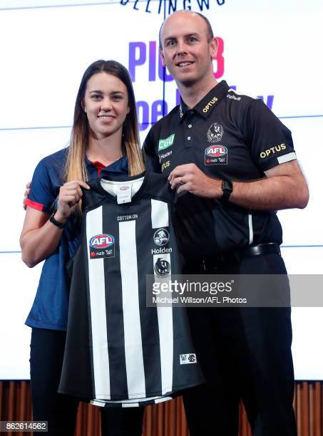 Collingwood Coach Wayne Siekman poses for a photo with Chloe Molloy during the 2017 NAB AFL Women's Draft at Docklands on October 18 2017 in...