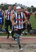 Collingwood Football training today Ben Johnson who was involved in a nightclub brawl with Chris Tarrant on the weekend 2nd August 2006 THE AGE SPORT...
