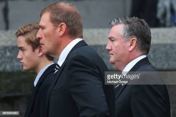 Collingwood Magies President Eddie Maguire arrives at the Lou Richards State Funeral Service at St Paul's Cathedral on May 17 2017 in Melbourne...