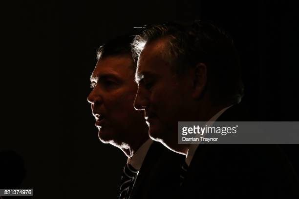 Collingwood Magpies AFL CEO Gary Pert and President Eddie McGuire speak to the media during a press conference at the Holden Centre on July 24 2017...