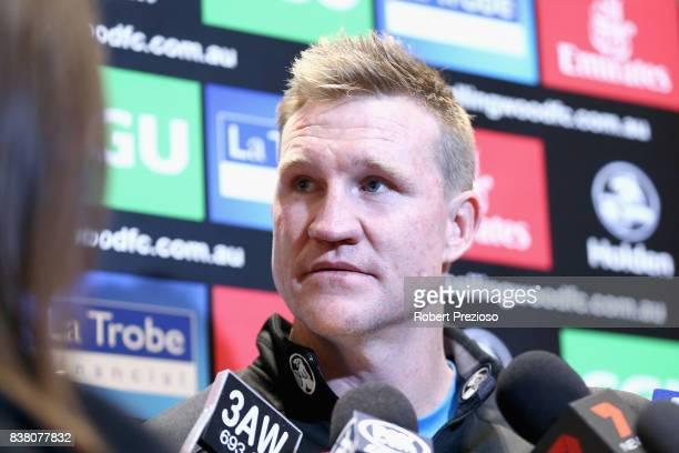 Collingwood Magpies AFL coach Nathan Buckley speaks to the media at the Holden Centre on August 24 2017 in Melbourne Australia