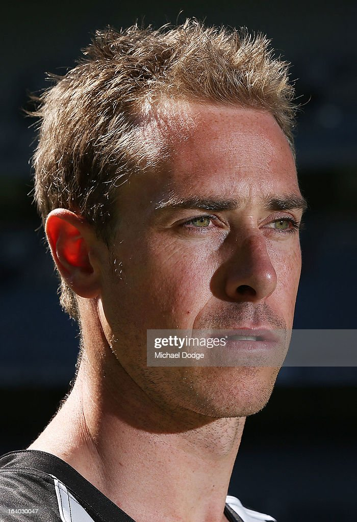 Collingwood Magpies captain Nick Maxwell looks ahead during the AFL Captains media day at Etihad Stadium on March 19, 2013 in Melbourne, Australia.