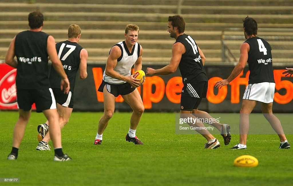 Collingwood players in action during a Collingwood Magpies training session at Victoria Park April 5 2004 in Melbourne Australia