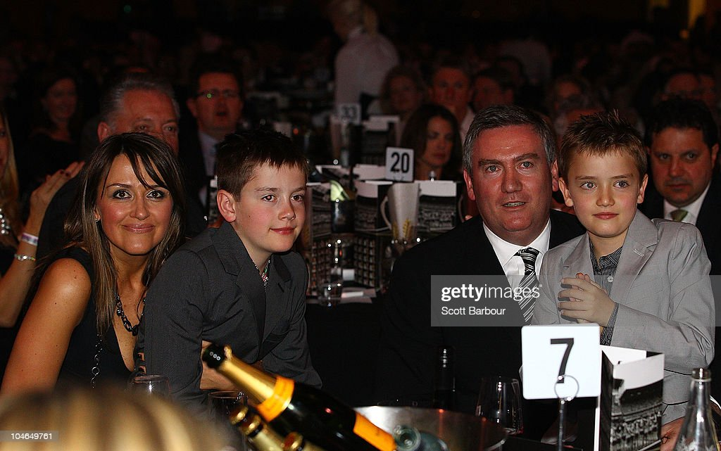 Collingwood President Eddie McGuire and his wife Carla hold their two sons during the Collingwood Magpies AFL Grand Final celebrations at the...