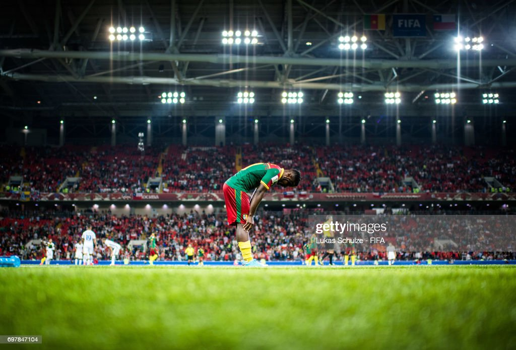 Collins Fai of Cameroon reacts after loosing the FIFA Confederations Cup Russia 2017 Group B match between Cameroon and Chile at Spartak Stadium on June 18, 2017 in Moscow, Russia.