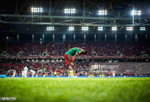 Collins Fai of Cameroon reacts after loosing the FIFA Confederations Cup Russia 2017 Group B match between Cameroon and Chile at Spartak Stadium on...
