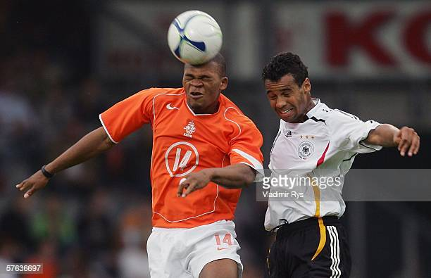 Collins John of Netherlands and Marvin Matip of Germany vie for a header during the Men's Under 21 international friendly match between Netherlands...