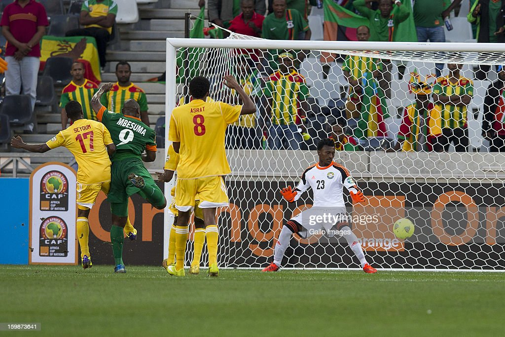 Collins Mbesuma scoring a goal for Zambia during the 2013 Orange African Cup of Nations match between Zambia and Ethiopia from Mbombela Stadium on January 21, 2012 in Nelspruit, South Africa