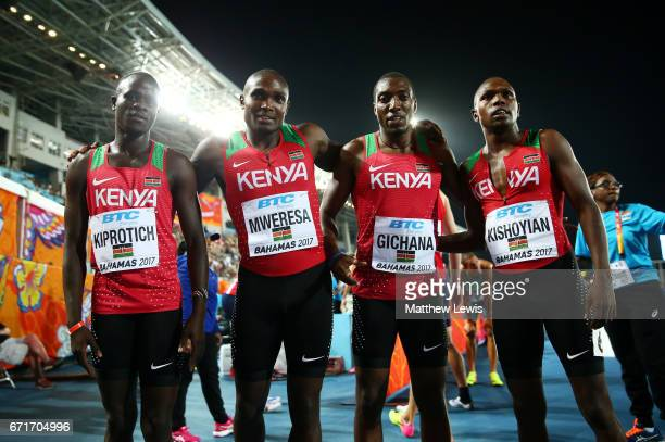Collins Omae Gichana Boniface Ontuga Mweresa Geoffrey Kiprotich and Alphas Leken Kishoyian of Kenya pose after heat three of the Men's 4 x 400 Meters...
