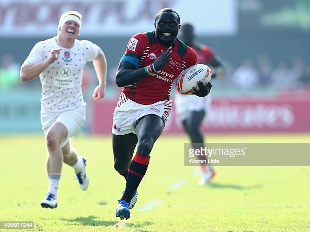 Collins Ouma of Kenya scores a try during the Emirates Dubai Rugby Sevens HSBC World Rugby Sevens Series at The Sevens Stadium on December 4 2015 in...