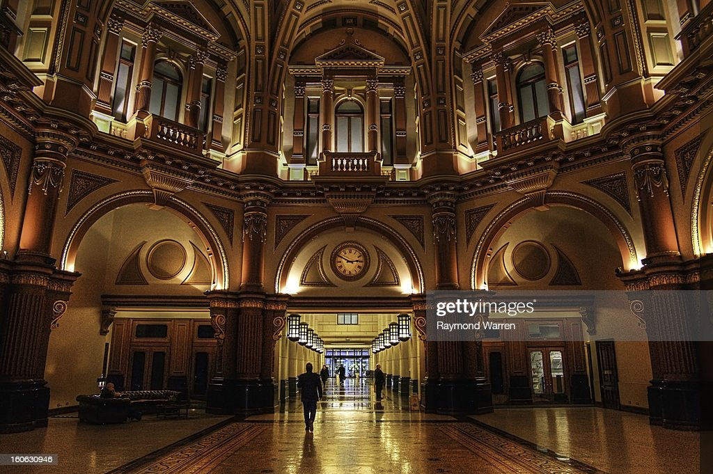 Collins Street Melbourne Australia Lobby entrance foyer building ornate architecture lifts Image, Horizontal, Color, People, Background People, Unrecognisable Person, Indoors, City Life, Full Frame