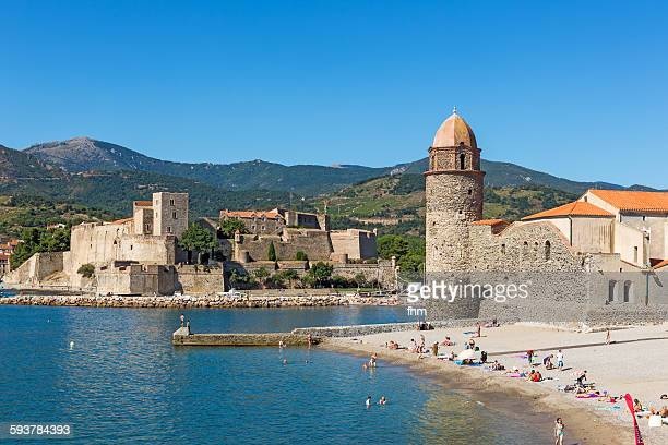 Collioure, France - beach and historic buidlings