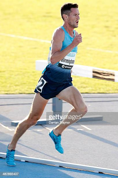 Collis Birmingham wins the mens 5000m final during the 92nd Australian Athletics Championships at Olympic Park on April 5 2014 in Melbourne Australia