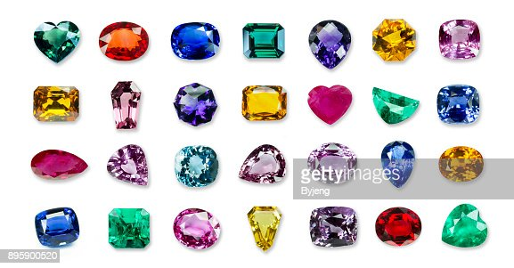 collrection of Bright gems isolated on a white background : Stock Photo