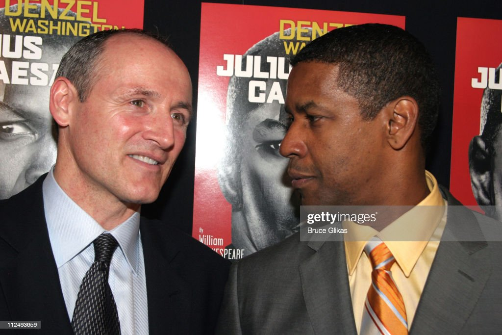 Colm Feore and <a gi-track='captionPersonalityLinkClicked' href=/galleries/search?phrase=Denzel+Washington&family=editorial&specificpeople=171332 ng-click='$event.stopPropagation()'>Denzel Washington</a> during Opening Night Party for 'Julius Caesar' on Broadway at Gotham Hall in New York City, New York, United States.