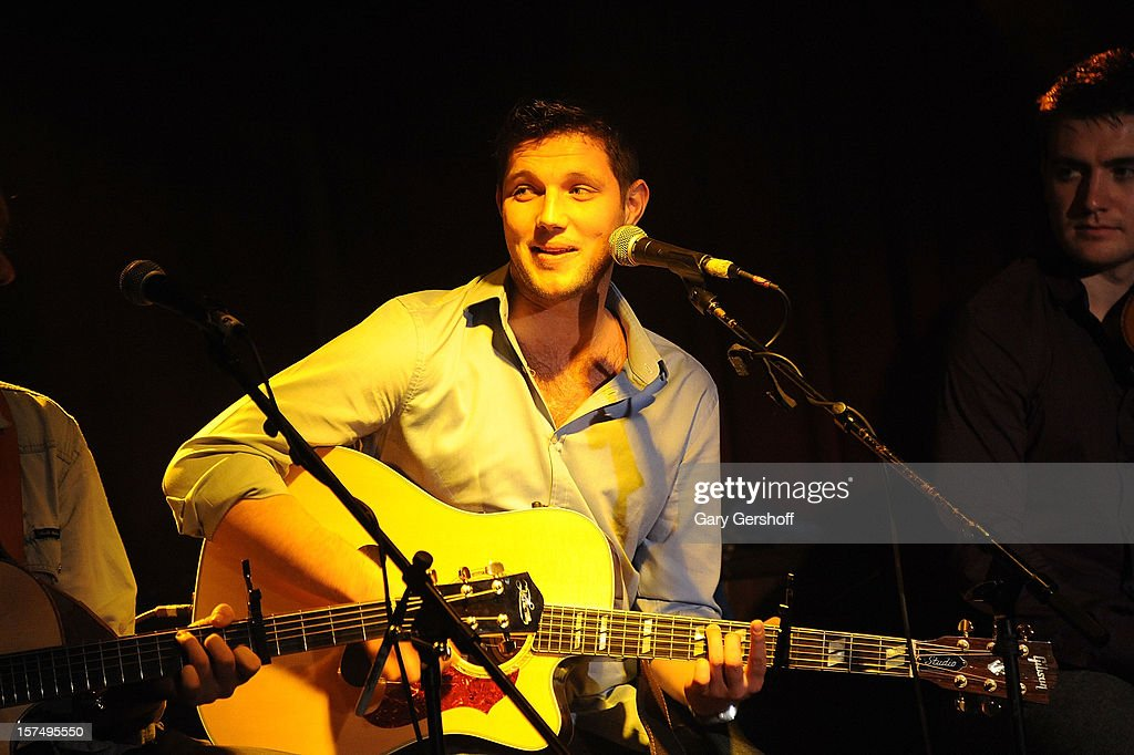 Colm Keegan of Celtic Thunder performs during an unplugged concert benefitting Hurricane Sandy victims at Sullivan Hall on December 3, 2012 in New York City.