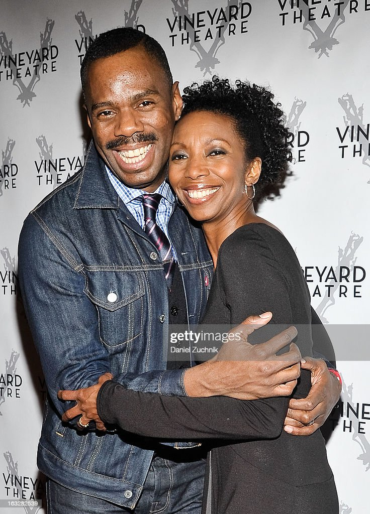 <a gi-track='captionPersonalityLinkClicked' href=/galleries/search?phrase=Colman+Domingo&family=editorial&specificpeople=4946383 ng-click='$event.stopPropagation()'>Colman Domingo</a> and Sharon Washington attend the off Broadway opening night of 'The North Pool' at Vineyard Theatre on March 6, 2013 in New York City.