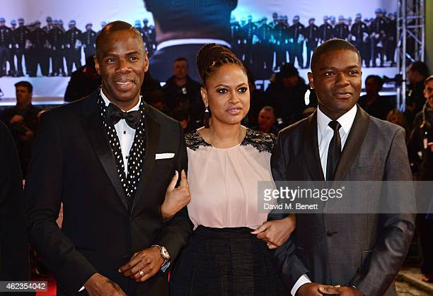 Colman Domingo director Ava DuVernay and David Oyelowo attend the European Premiere of 'Selma' at The Curzon Mayfair on January 27 2015 in London...
