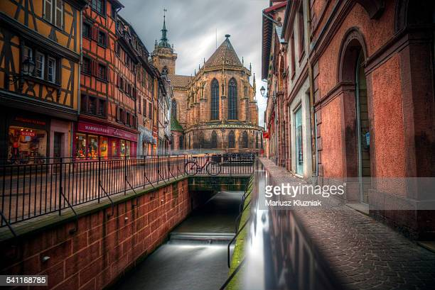 Colmar Cathedral, street and canal
