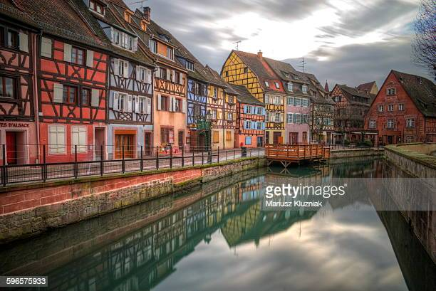 Colmar picturesque old town and canal reflections