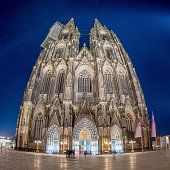 Landmark in Germany, illuminated Cologne Cathedral at night