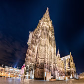 Illuminated Cologne Cathedral at night, Germany