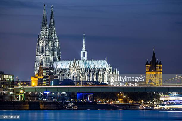 Cologne Cathedral Lit Up At Night